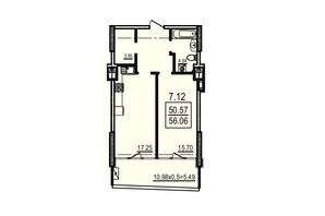 ЖК Каліпсо: планування 1-кімнатної квартири 36.76 м²