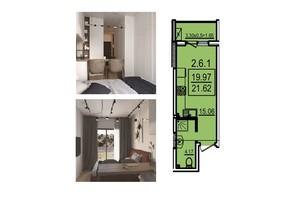 ЖК Каліпсо: планування 1-кімнатної квартири 21.62 м²
