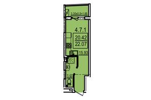ЖК Каліпсо: планування 1-кімнатної квартири 22.07 м²
