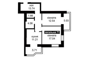 ЖК Капитал 2: планировка 2-комнатной квартиры 71 м²