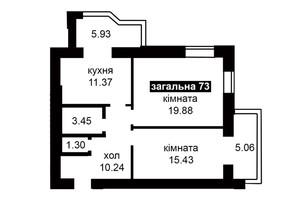 ЖК Капитал 2: планировка 2-комнатной квартиры 73 м²
