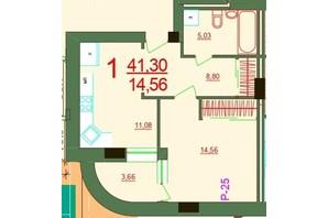 ЖК Карат: планировка 1-комнатной квартиры 41.3 м²