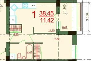 ЖК Карат: планировка 1-комнатной квартиры 38.45 м²