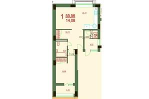 ЖК Карат: планировка 1-комнатной квартиры 55.56 м²