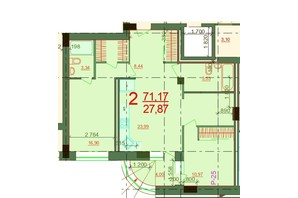 ЖК Карат: планировка 2-комнатной квартиры 71.17 м²