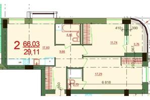 ЖК Карат: планировка 2-комнатной квартиры 66.03 м²
