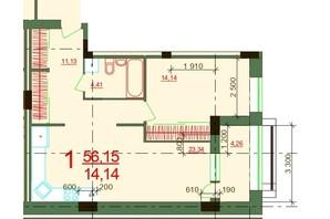 ЖК Карат: планировка 1-комнатной квартиры 55.69 м²