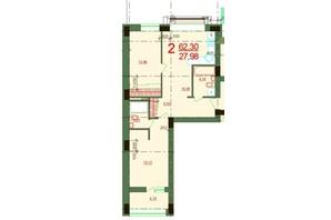ЖК Карат: планировка 2-комнатной квартиры 62.3 м²