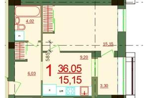 ЖК Карат: планировка 1-комнатной квартиры 36.05 м²
