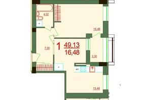 ЖК Карат: планировка 1-комнатной квартиры 49.13 м²