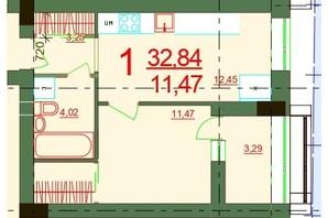 ЖК Карат: планировка 1-комнатной квартиры 32.84 м²