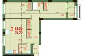 ЖК Карат: планировка 2-комнатной квартиры 83.6 м²