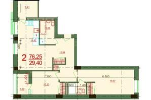 ЖК Карат: планировка 2-комнатной квартиры 76.25 м²