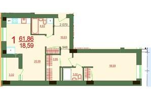ЖК Карат: планировка 1-комнатной квартиры 61.86 м²