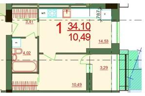 ЖК Карат: планировка 1-комнатной квартиры 34.1 м²