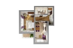 ЖК Karaway Tower: планировка 1-комнатной квартиры 46.88 м²