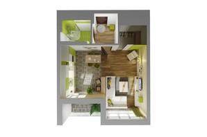 ЖК Karaway Tower: планировка 1-комнатной квартиры 44.88 м²