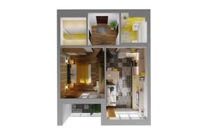 ЖК Karaway Tower: планировка 1-комнатной квартиры 45.73 м²