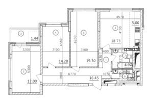 ЖК Karaway Tower: планировка 3-комнатной квартиры 95.09 м²