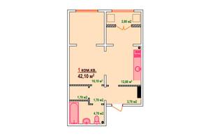 ЖК Казак Сити: планировка 1-комнатной квартиры 42.1 м²