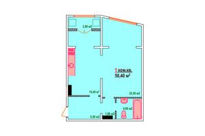ЖК Казак Сити: планировка 1-комнатной квартиры 50.4 м²