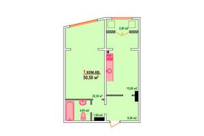 ЖК Казак Сити: планировка 1-комнатной квартиры 50.5 м²