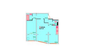 ЖК Казак Сити: планировка 2-комнатной квартиры 66.75 м²