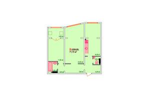 ЖК Казак Сити: планировка 2-комнатной квартиры 71.75 м²