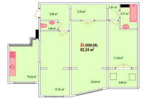 ЖК Казак Сити: планировка 2-комнатной квартиры 82.24 м²