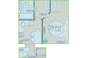 ЖК Кемпинг Сити: планировка 1-комнатной квартиры 34.48 м²