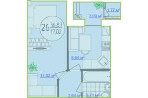 ЖК Кемпинг Сити: планировка 1-комнатной квартиры 36.87 м²