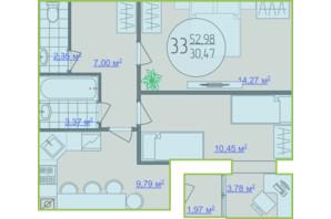 ЖК Кемпинг Сити: планировка 2-комнатной квартиры 52.98 м²