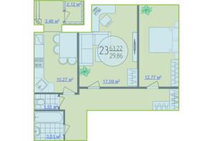 ЖК Кемпинг Сити: планировка 2-комнатной квартиры 63.22 м²