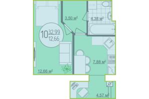 ЖК Кемпинг Сити: планировка 1-комнатной квартиры 32.99 м²
