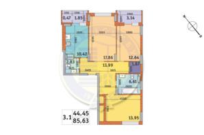 ЖК «Харьковский»: планировка 3-комнатной квартиры 87.2 м²
