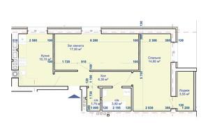 ЖК Хотів: планування 2-кімнатної квартири 56.5 м²