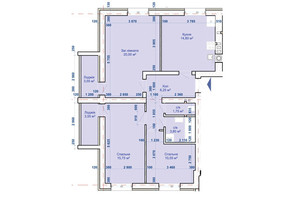ЖК Хотів: планування 3-кімнатної квартири 71.95 м²