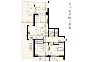 ЖК Хвиля LUX: планировка 3-комнатной квартиры 95.37 м²