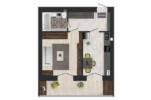 ЖК Кленовий Парк: планування 1-кімнатної квартири 39.72 м²