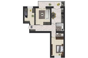 ЖК Кленовий Парк: планування 3-кімнатної квартири 76.98 м²