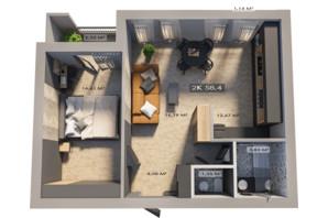 ЖК Клубне містечко 12: планування 2-кімнатної квартири 58.4 м²
