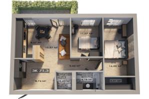 ЖК Клубне містечко 12: планування 3-кімнатної квартири 71.3 м²