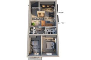 ЖК Клубне містечко 12: планування 3-кімнатної квартири 92.5 м²