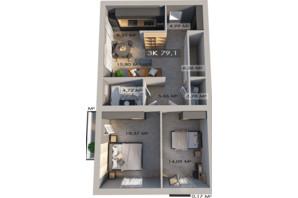 ЖК Клубне містечко 12: планування 3-кімнатної квартири 79.1 м²
