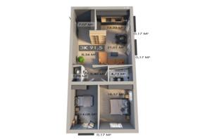 ЖК Клубне містечко 12: планування 3-кімнатної квартири 91.5 м²