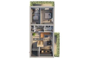 ЖК Клубне містечко 12: планування 3-кімнатної квартири 91 м²
