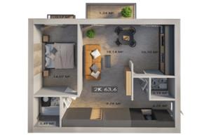 ЖК Клубне містечко 12: планування 2-кімнатної квартири 63.6 м²