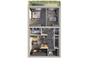 ЖК Клубне містечко 12: планування 3-кімнатної квартири 77.8 м²
