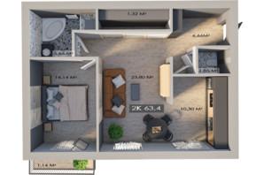 ЖК Клубне містечко 12: планування 2-кімнатної квартири 63.4 м²
