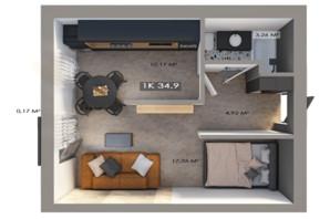 ЖК Клубне містечко 12: планування 1-кімнатної квартири 34.9 м²